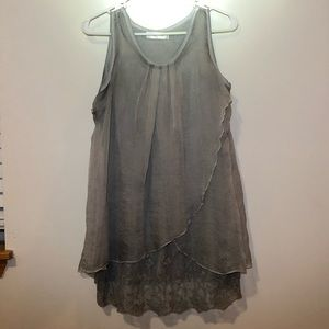 Simply Couture Layered Lace Tank Top, Gray Size L